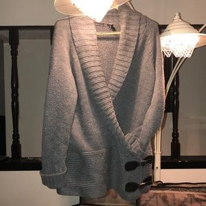 Wool Double Buckle Ribbed Cardigan